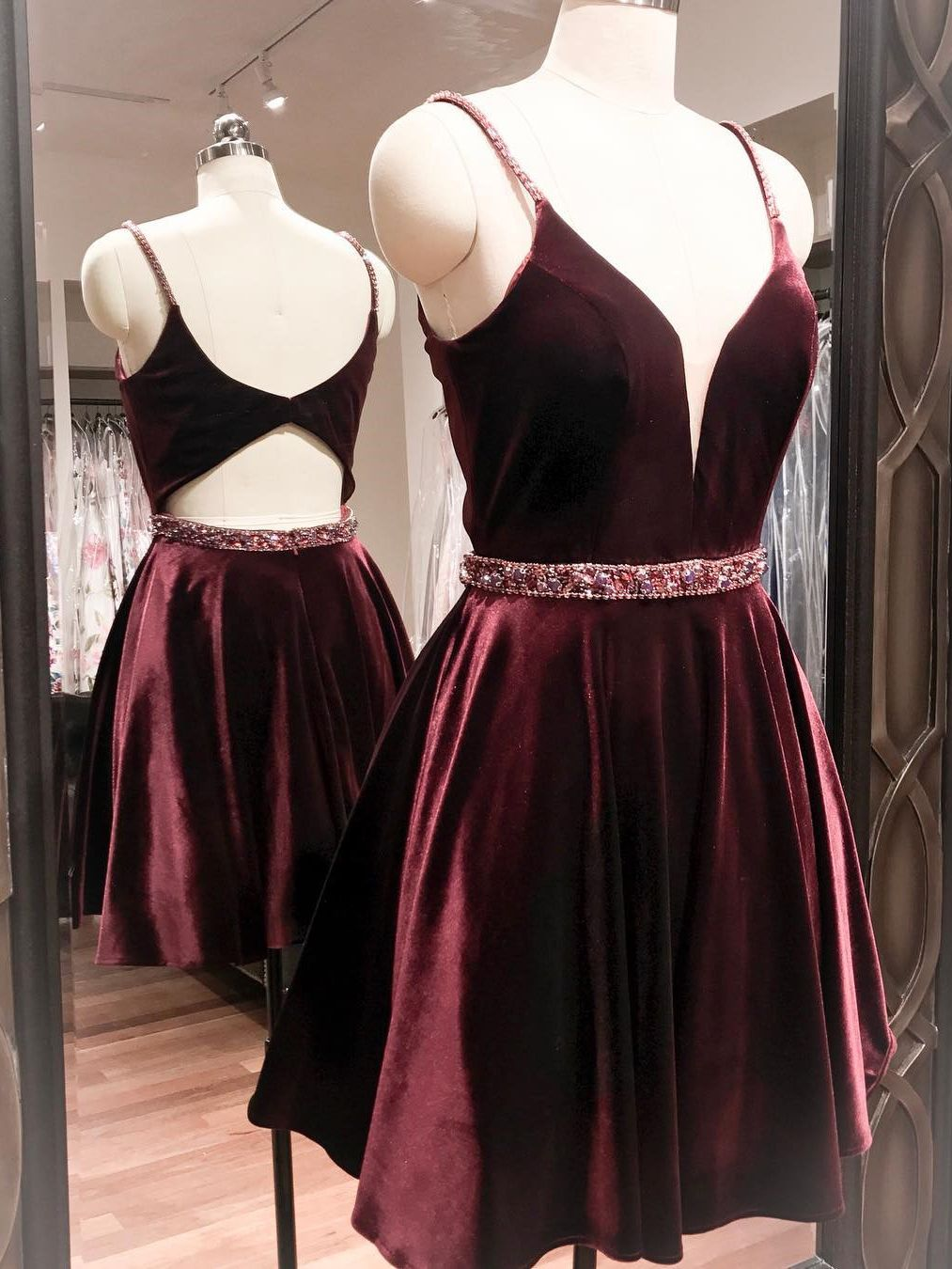 Straps short burgundy velvet homecoming dress sugerdress