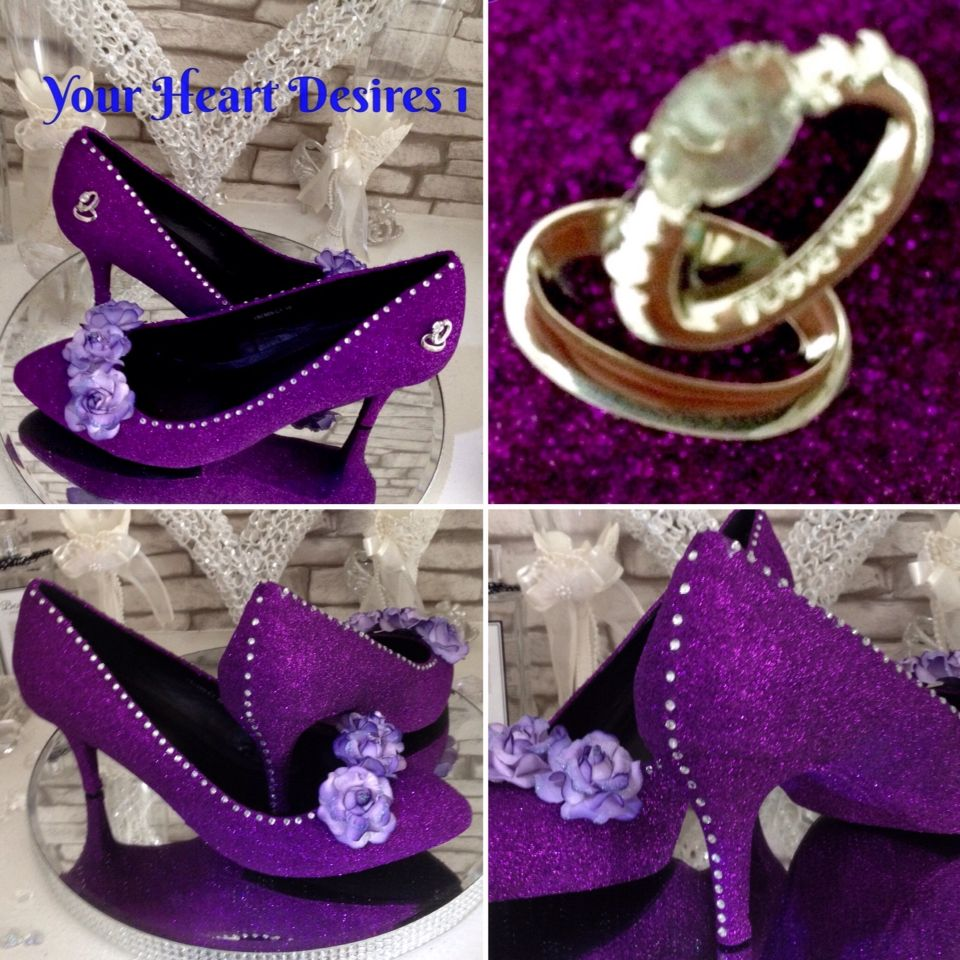 Cadbury Purple Wedding Bride Shoes With Crystalroses And Ring Design