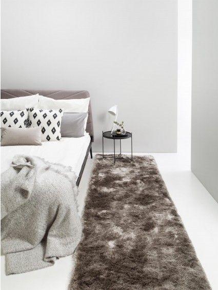 Hochflor Teppich Whisper Läufer Grau 80x300 cm Shaggy Teppiche - teppich wohnzimmer grau