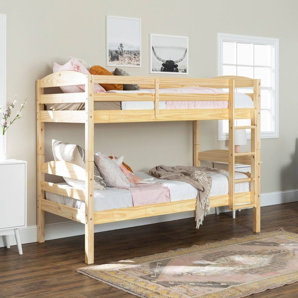 Solid Wood Twin Over Twin Bunk Bed Black Saracina Home Twin Bunk Beds Bunk Bed Designs Bunk Beds