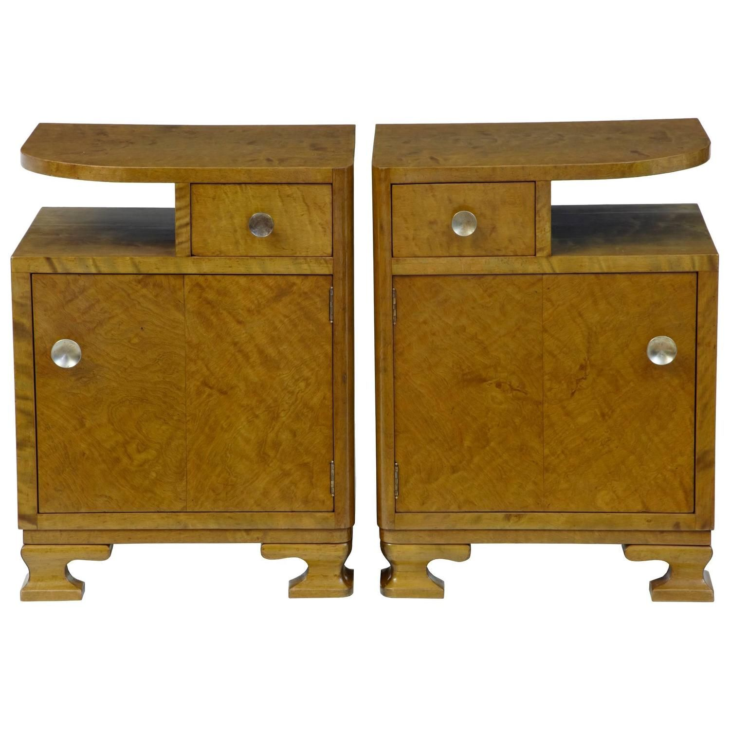 Pair Of 1930 S Art Deco Birch Bedside Tables In 2019 Art
