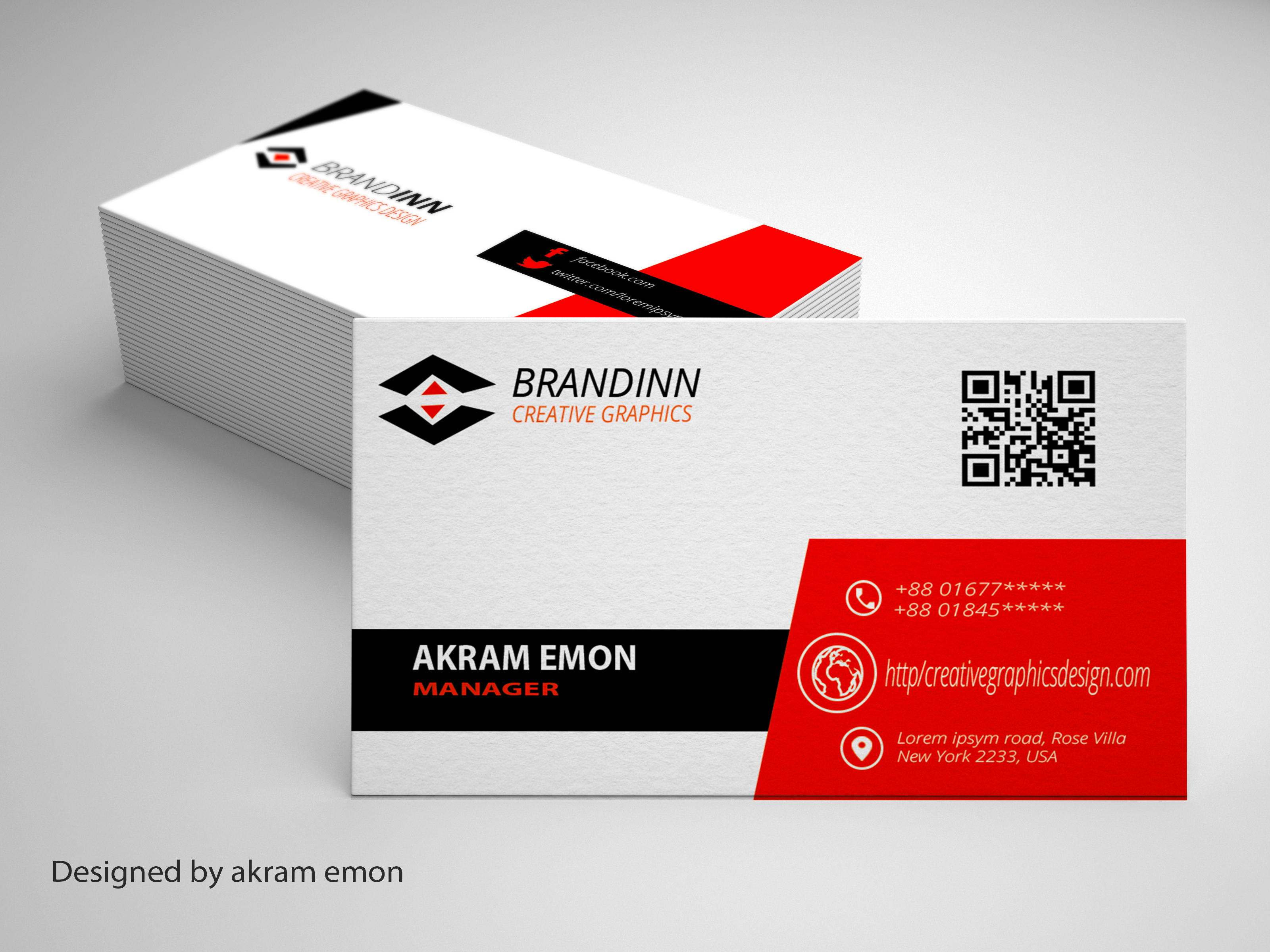 Corporate Business Card Design At Fiverr Akramemon58