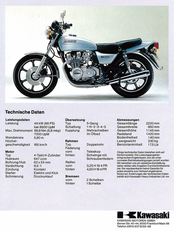 Technische Daten Kawasaki Z650c Kawasaki Motorräder