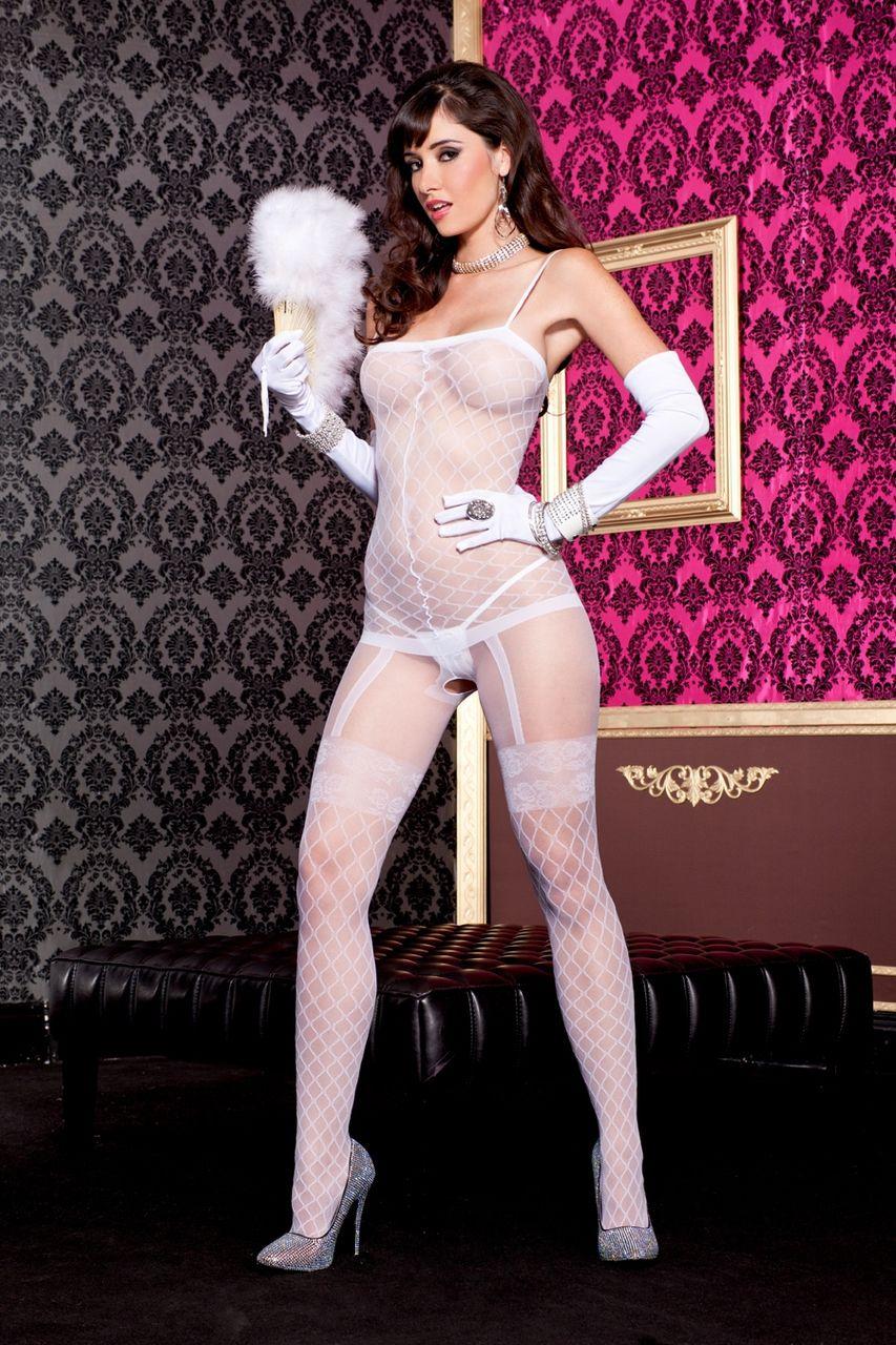 d90d787da5bef Sexy Music Legs Black White Sheer Faux Fence Net Bodystocking Crotchless  Hosiery Bridal Wedding Bride Bodysuits