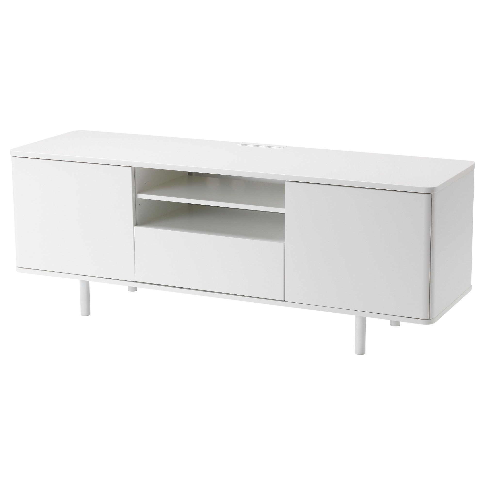 IKEA MOSTORP TV bench White cm The large drawer makes it easy to keep  remote controls, game controllers and other TV accessories organised.