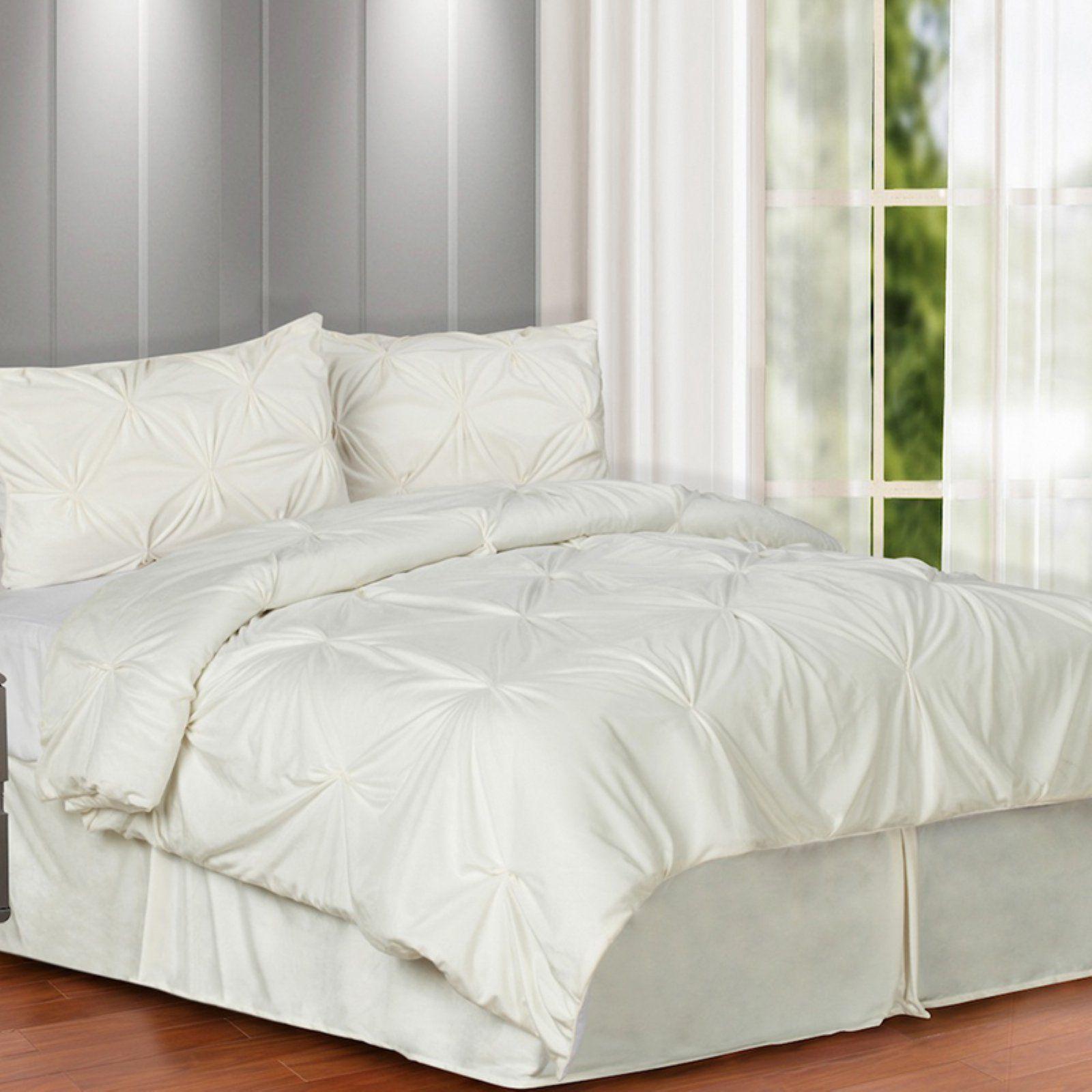 Hudson Street Pintuck Plush 3 Piece Complete Comforter Set Silver, Size: King