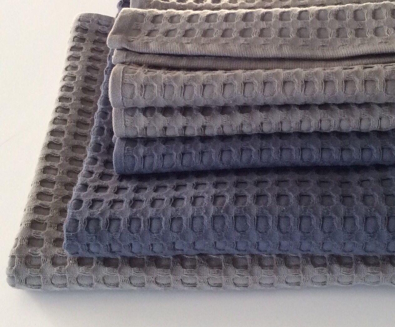 2 set asciugamani bagno nido d'ape (ospite+viso). Colore grigio ...