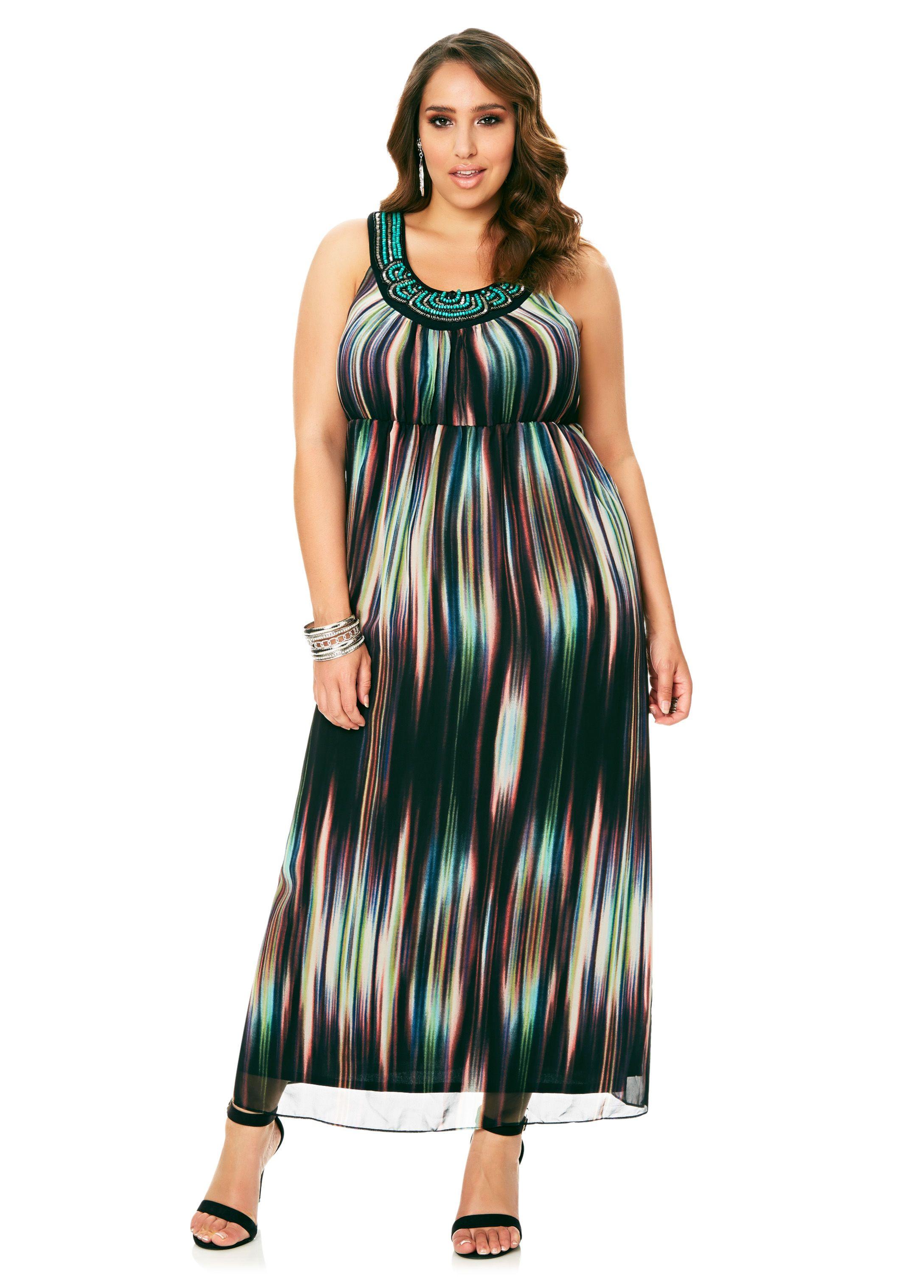 2487fcc31201d Beaded Neck Watercolor Maxi Dress - Ashley Stewart