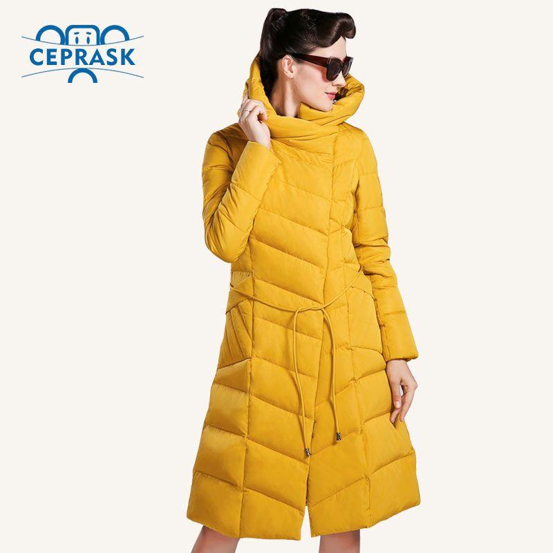 CEPRASK 2016 고품질 겨울 자켓 여성 플러스 사이즈 긴 유행 여성의 겨울 코트 후드 따뜻한 다운 재킷 파카