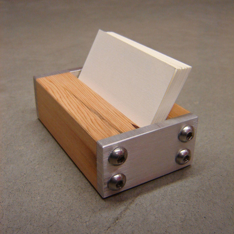 Modern Business Card Holder In Metal And Reclaimed Fir