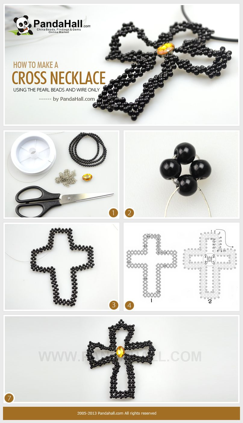 Teach A Way To Make A Cross Necklace Out Of Round Pearl Beads And