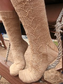 """My Cup of Tea socks are worked top down on dpn's. Inspiration for these socks came from the """"crocuses"""" pattern (p. 60) The Stitch Collection Book 5/Specialty Stitches by Debbie O'Neill."""