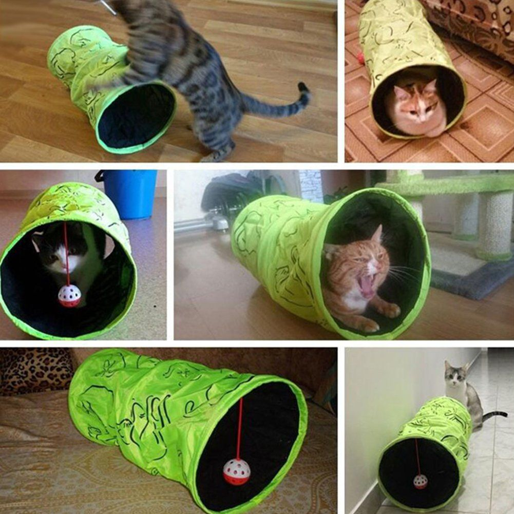 Zehui 3layer Fluorescentgreen Folding Cat Tunnel And Playmat With Sound Pet Toy Nest Including A Ball 2010 Want Additional Cat Tunnel Cat Training Cat Toys