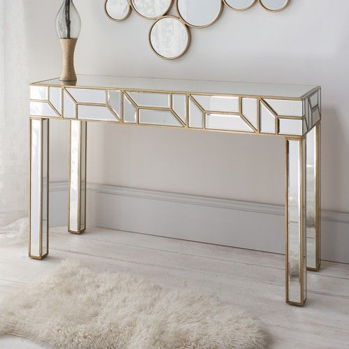 Gold Mirrored Console Table  Elegant And Contemporary
