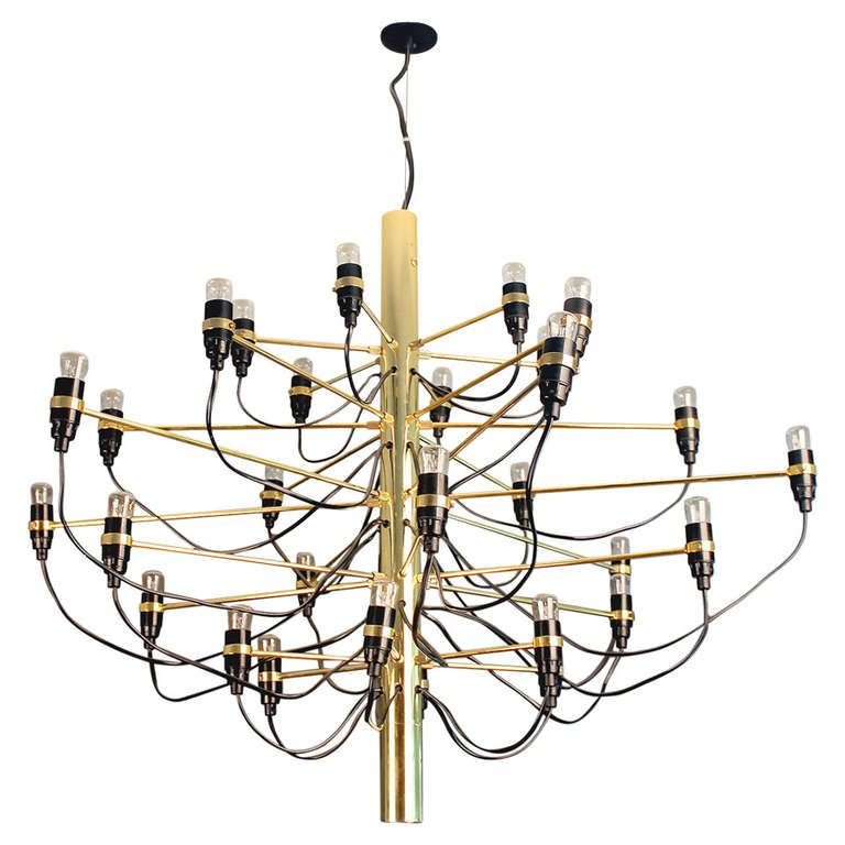 Arteluce 2097 Brass Chandelier Gino Sarfatti CREATOR: Arteluce (Manufacturer), Gino Sarfatti (Designer) OF THE PERIOD: Mid-Century Modern COUNTRY: Italy DATE OF MANUFACTURE: 1960s