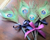 Peacock Wedding Favor-Peacock Pen-Peacock Feathers-Guest Book-Peacock Favors-Blonde Peacock feathers-Bleached Peacock Feathers-Bridal Pen. $8.00, via Etsy.