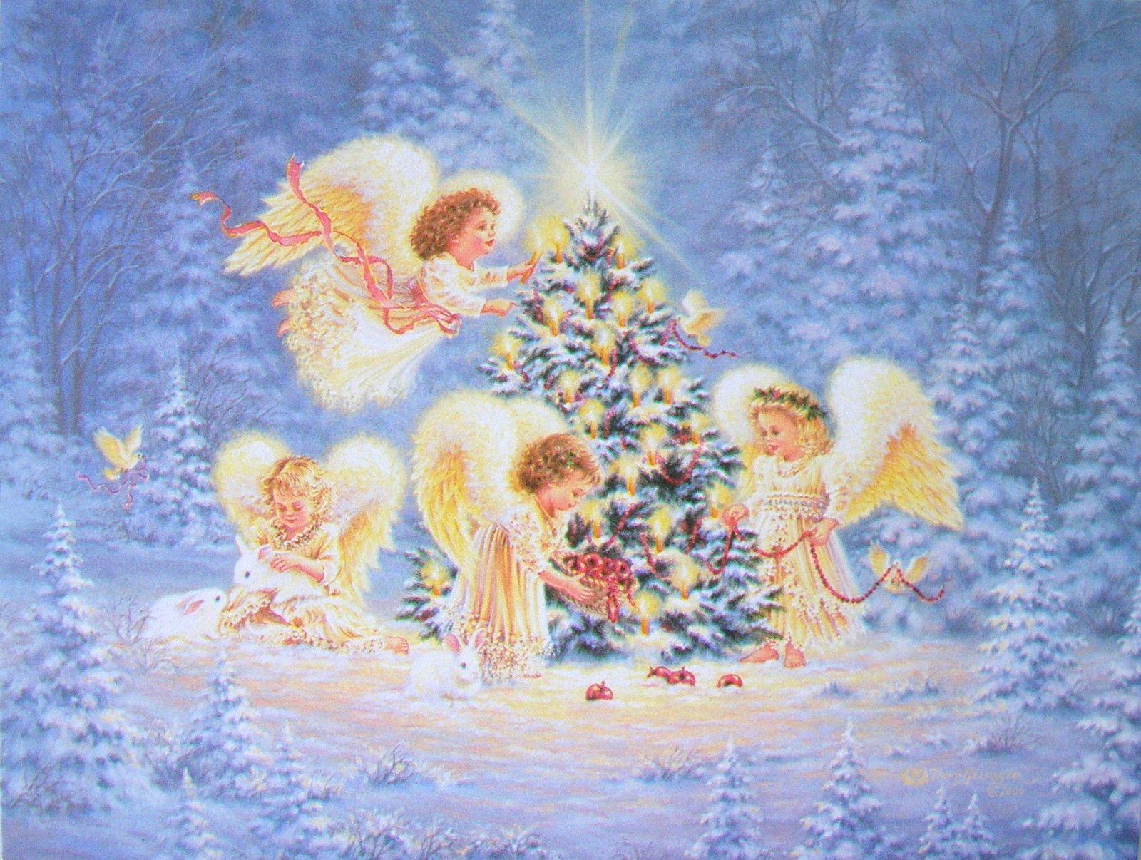 Leanin Tree Dona Gelsinger Little Girl Angels Christmas Tree Star