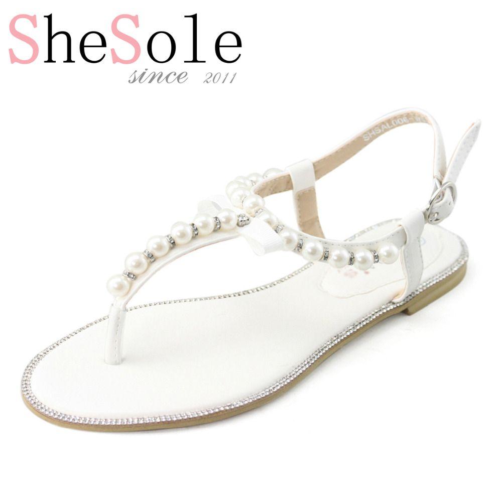 0fcf1dba547a4 ... Sandals Information about White wedding flat sandals bridal pearl shoes  women flip flops diamond rhinestone pu leather beach beaded sandle Brand  SheSole ...