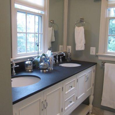 Traditional Bathroom Black Granite Countertop On White Cabinet
