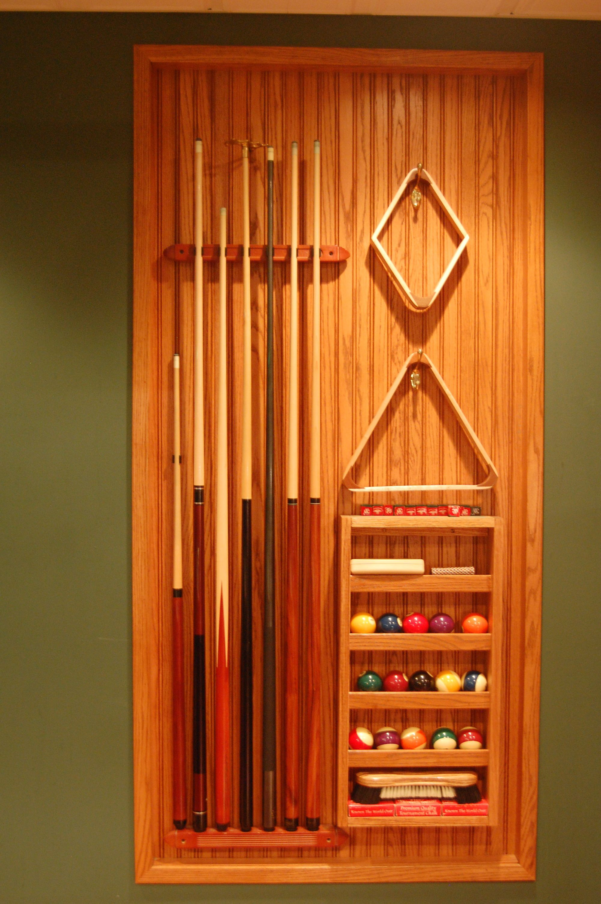 Cue rack I built from Oak, insets into wall   For the Home ...