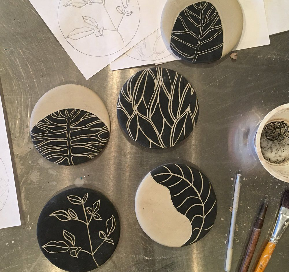 You will create four tiles using the sgraffito technique. The tiles can be used as coasters or wall decor. I will assist you in designing a suitable graphic image on tracing paper before class or you may use one of my botanical images like the sample. Here is a description of the process: On just p