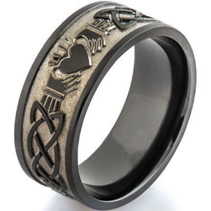 Black Zirconium Celtic Claddagh Ring from Titanium Buzz All