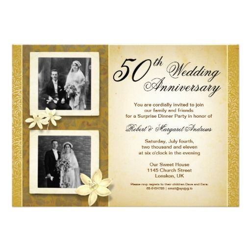 Two Photos Wedding Anniversary Invitation Wedding Anniversary