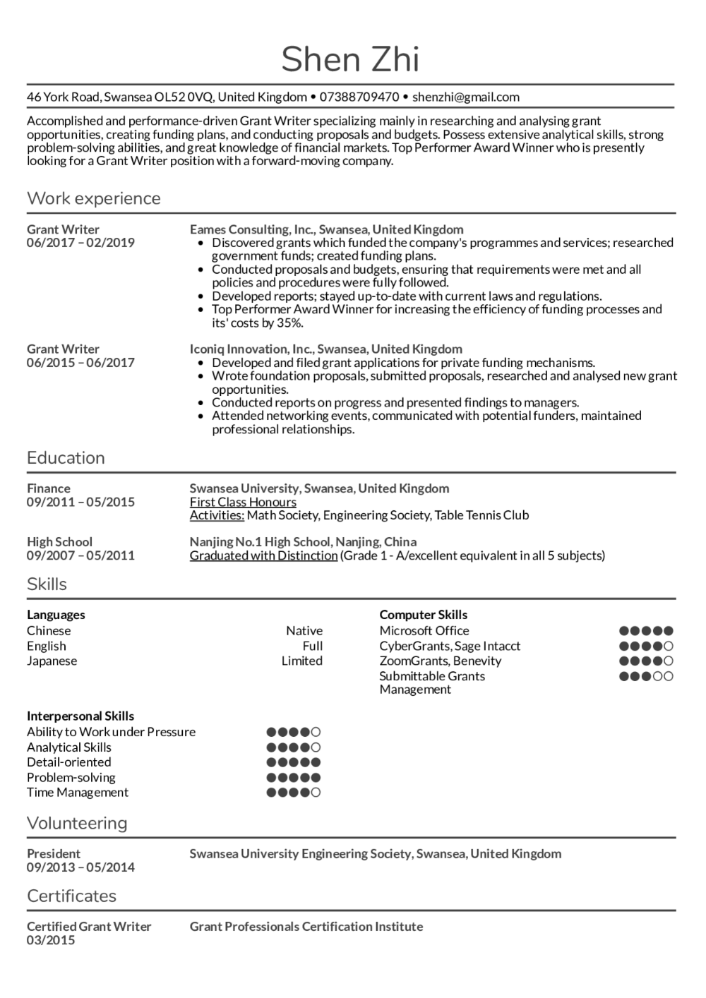Resume Examples By Real People Grant Writer Resume Sample Kickresume Grant Writing Proposal Writer Resume