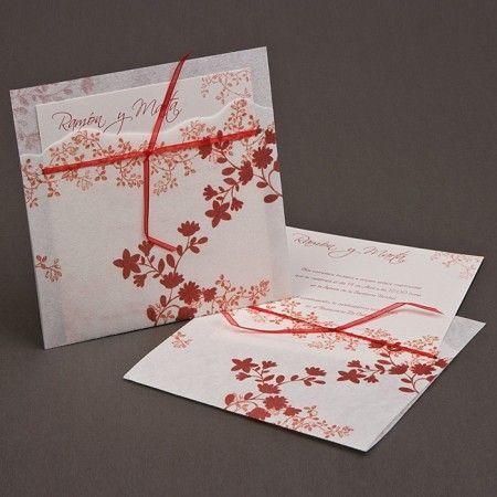 flores y color rojo para una invitacin de boda moderna