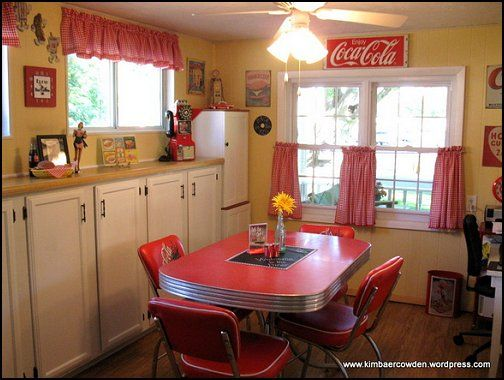 I Reallylike How They Made The Kitchen Have A Diner Feel K Into My Future Pinterest 50s Party Decorations Bedroom And Retro Decorating
