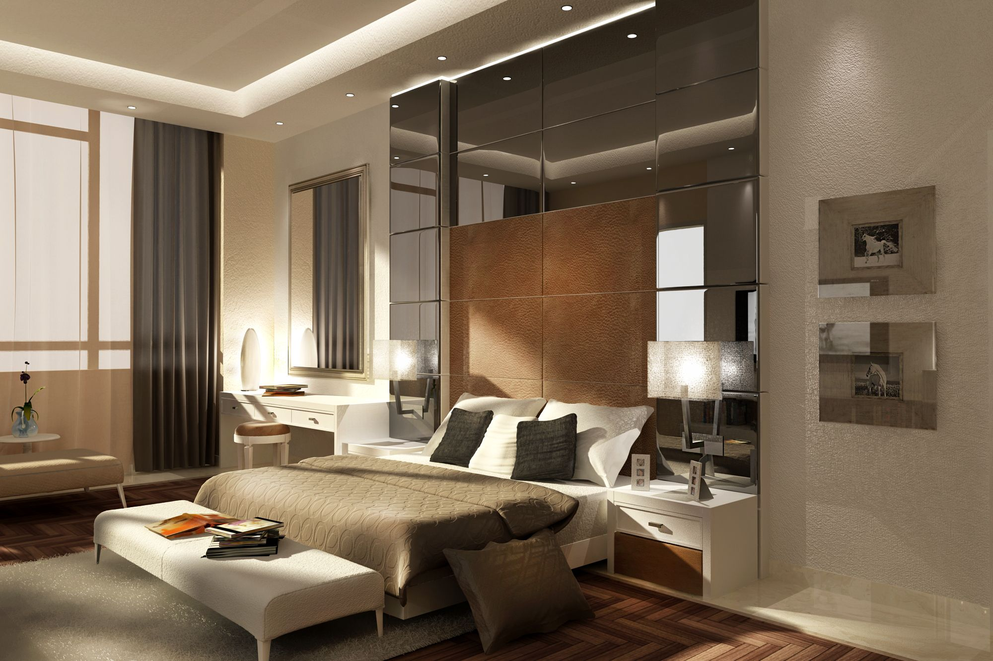 3d render 3d max interior design bedroom design modern for Model bedroom interior design