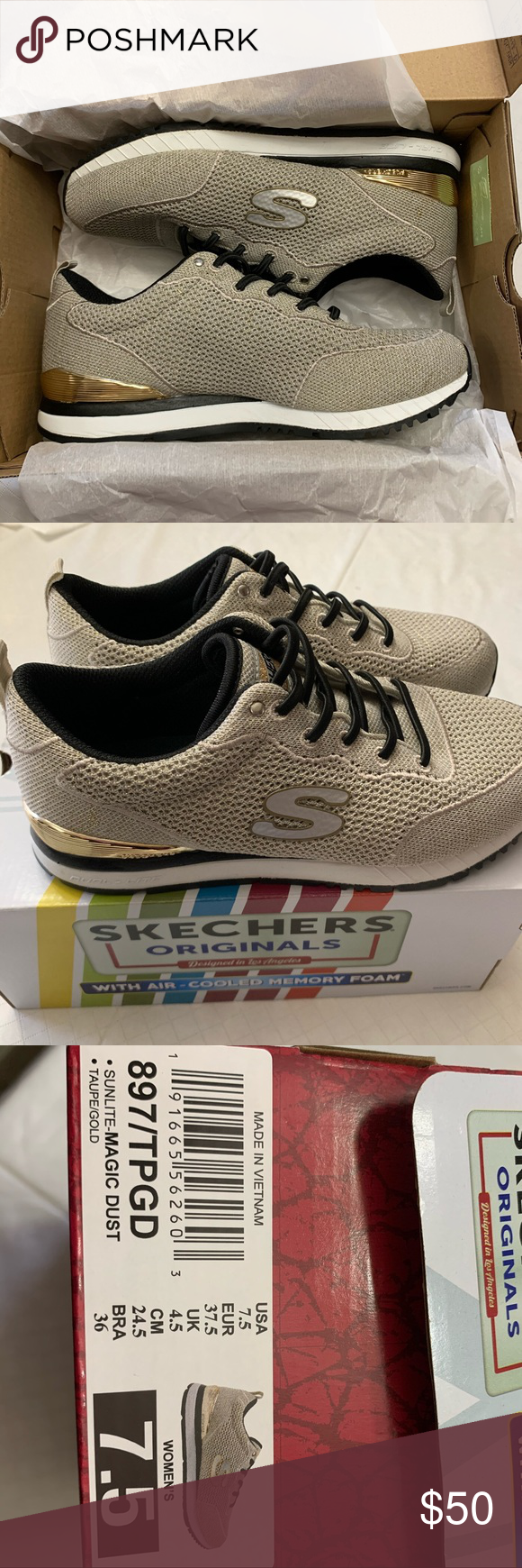 NWT women's Sketchers sunlite magic dust size 7.5 NWT in box