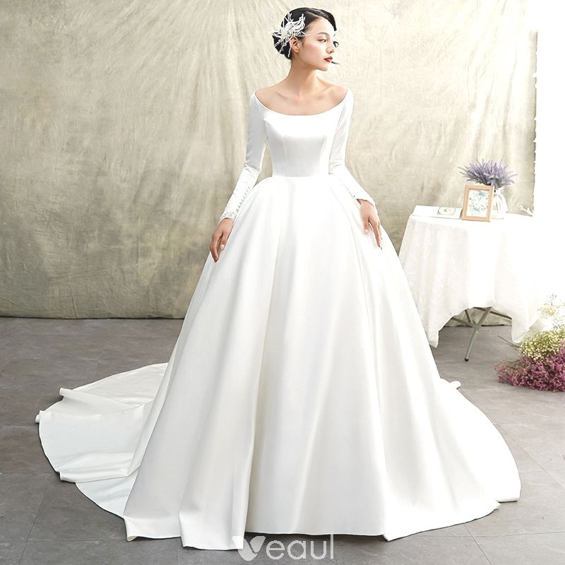Vintage Vintage Ivory Satin Winter Season Wedding Gowns 2019 Princess Scoop Neck Of The Guitar Wedding Dresses Satin Ball Gowns Wedding Long Wedding Dresses