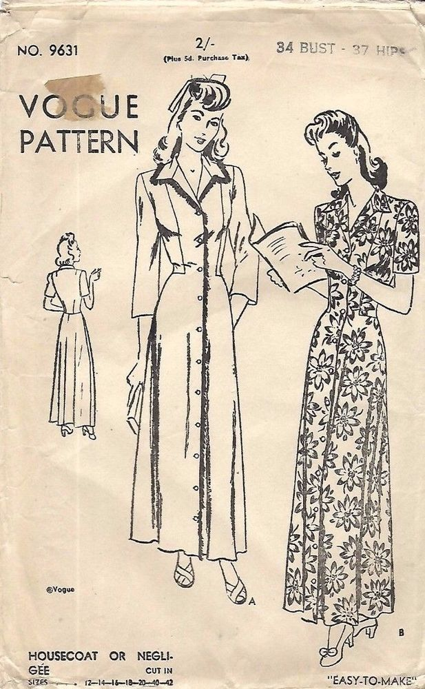 Vintage 1940\'s Sewing Pattern Vogue Housecoat Robe Dressing Gown B ...
