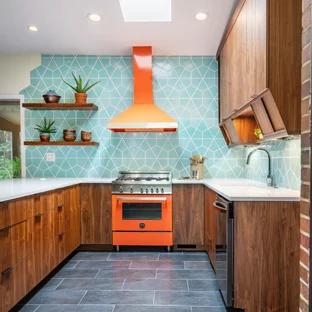 Best Mid Century Kitchens Google Search Blue Kitchen Tiles 400 x 300