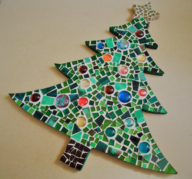 Stained Glass Mosaic Christmas Tree Wall Decor Etsy Christmas Mosaics Stained Glass Christmas Mosaic Tile Art