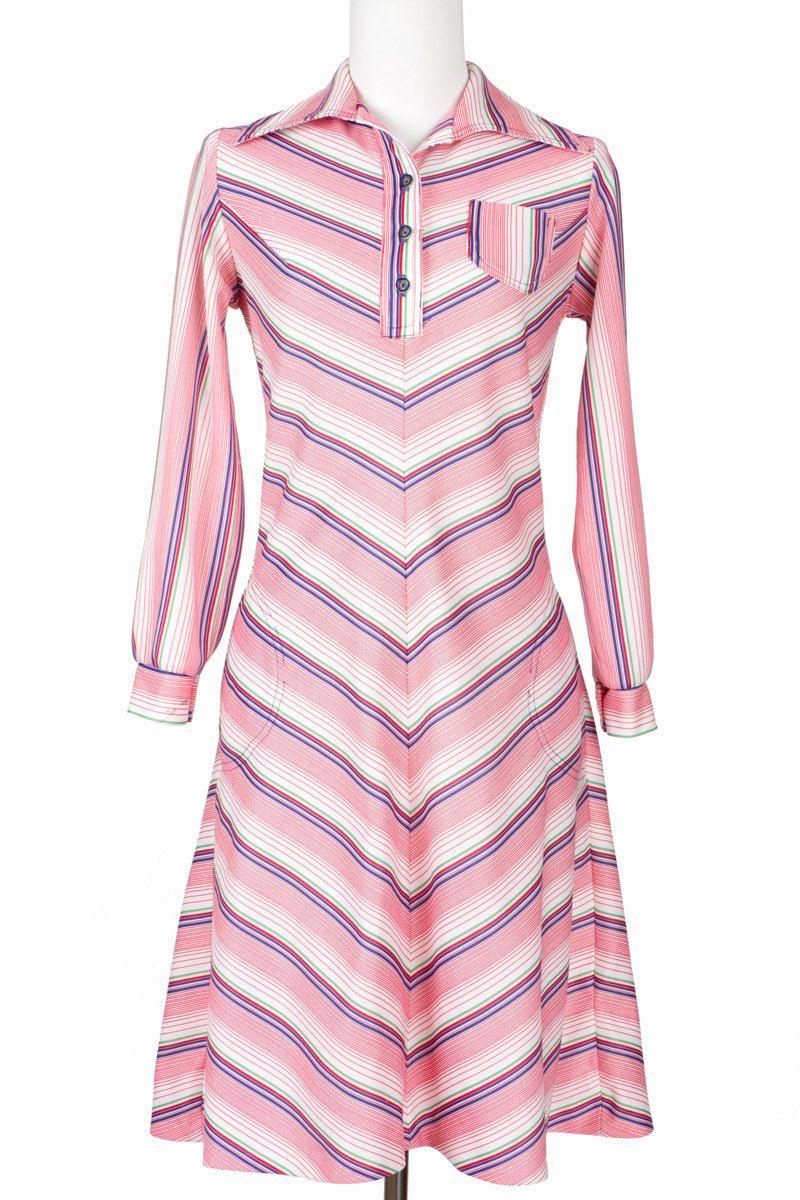 S vintage dress chevron pink stripes mod small medium pink