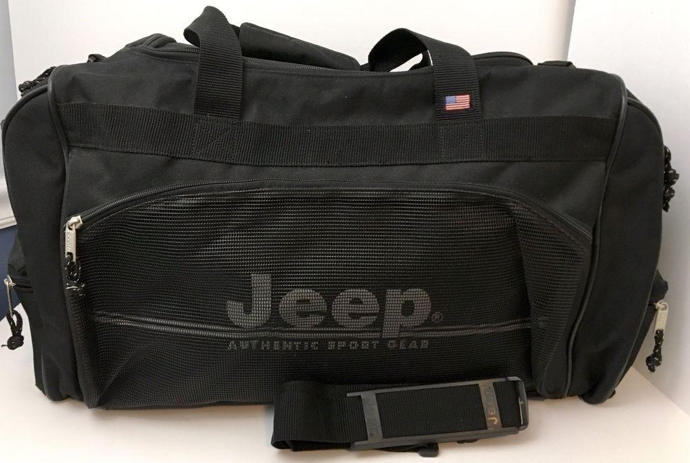 Jeep Authentic Sport Gear Travel Equipment Duffle Shoulder Bag Black Large  EUC  JEEP  DuffleGymBag 05fd70f3f0056