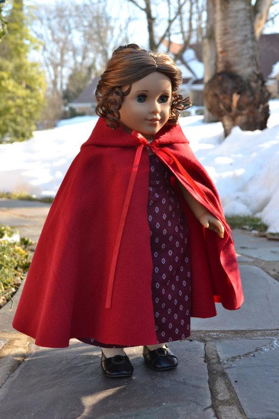 Doll Cloak Cape American Girl Felicty cardinal cloak | American girl ...