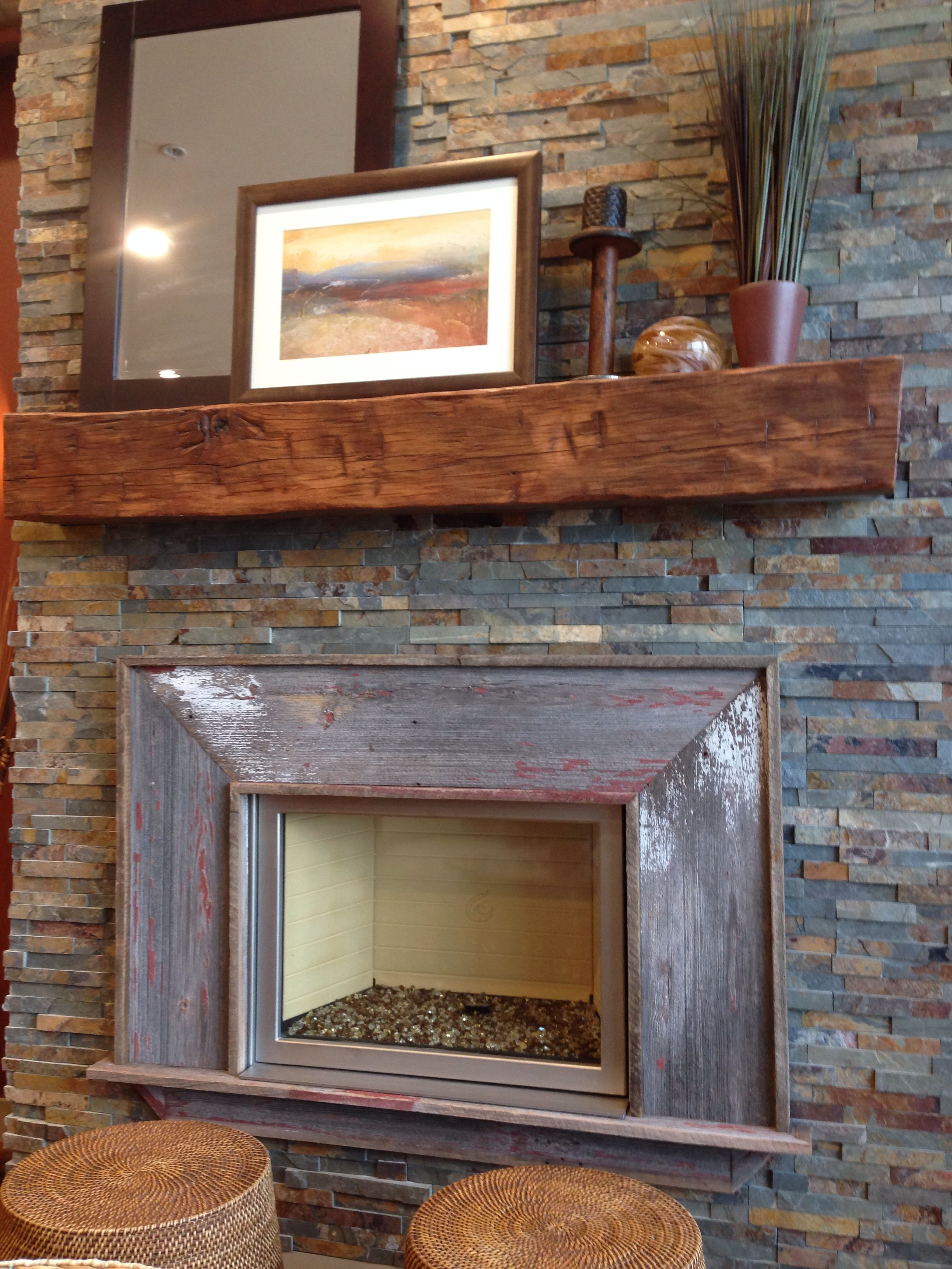Reclaimed wood fireplace mantle and surround barn wood stacked