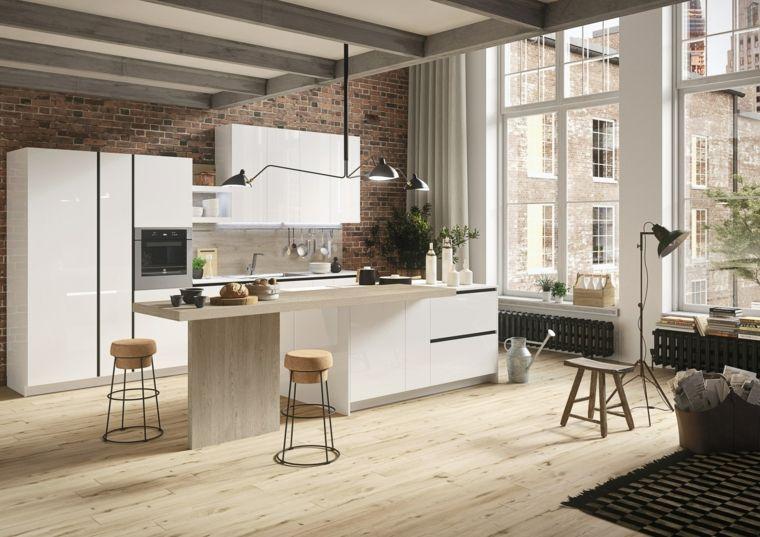 Moderno arredamento per cucina con isola e tavolo rivestimento