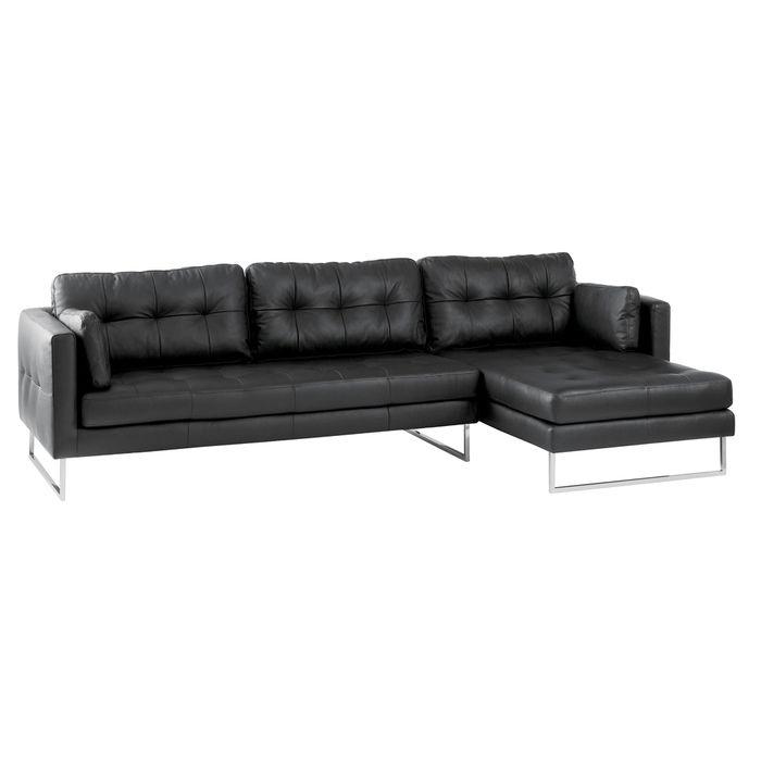 Paris Leather Right Hand Corner Sofa Black Black Sofa Corner