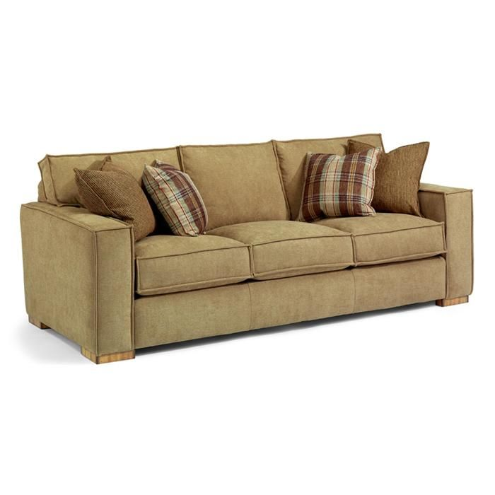 Nebraska Furniture Mart Flexsteel Contemporary Tan Microfiber Sofa