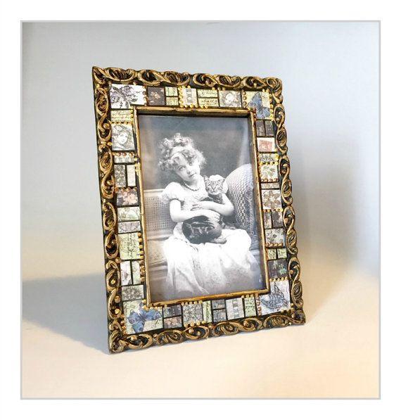 Vintage Style Frame, Embellished Paper Mosaic Frame, 4x6 Mosaic ...
