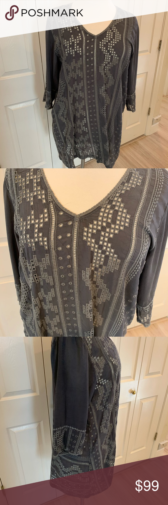 Best Johnny Was Gray Eyelet Tunic Top Euc Xl With Images 400 x 300
