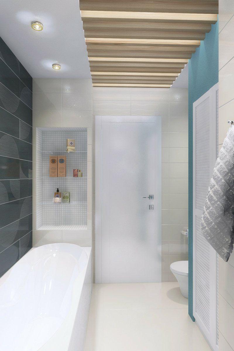 Eine Idee In Weiß, Blau Und Schwarz Für Das Badezimmer