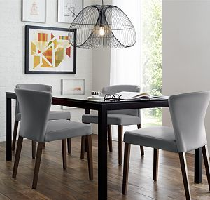 Charmant Modern Dining Room Table With Gray Chairs From Crate And Barrel |Curran  Grey Dining Chair | Cosmo Pendant Light