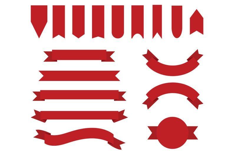 Red Badge Banner Clip Art Set Png Svg Vector Flat Text Etsy Banner Clip Art Christmas Graphic Design Clip Art