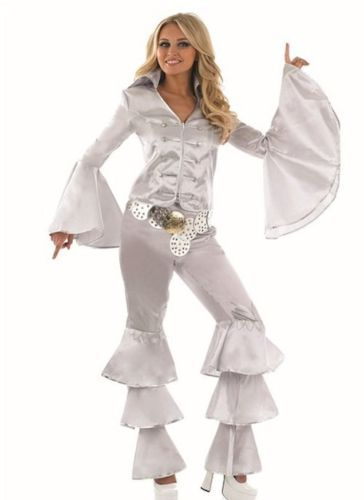 Adult Ladies Abba Silver Dancing Queen Fancy Dress Costume Sizes