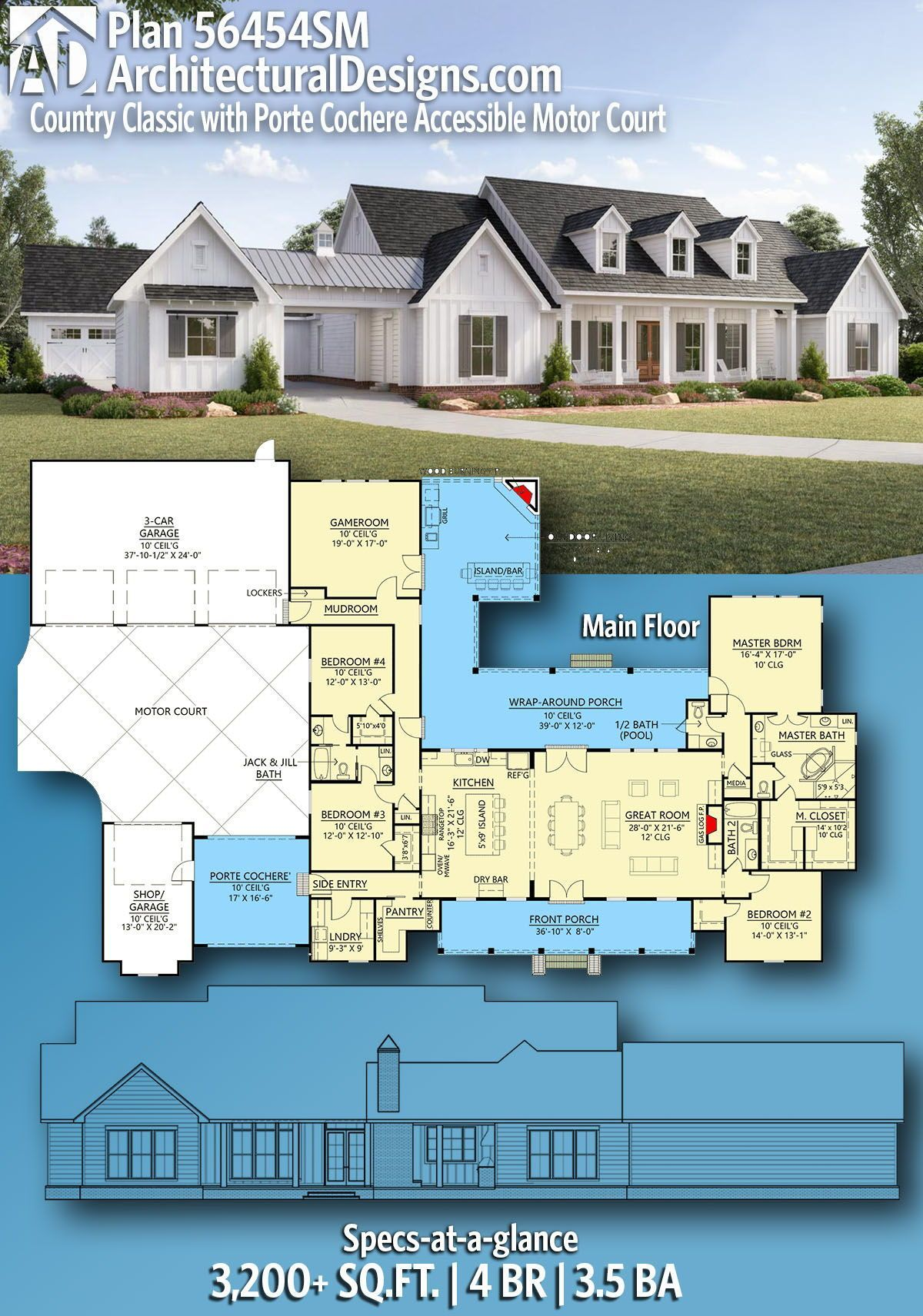 Architectural Designs Country Home Plan 56454sm Gives You 3 4 Bedrooms 2 5 Bat Country House Plans House Plans Farmhouse Ranch House Plans